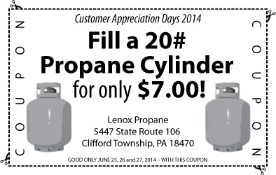 Lenox Propane Coupon 2014 - $7 for 20# refill